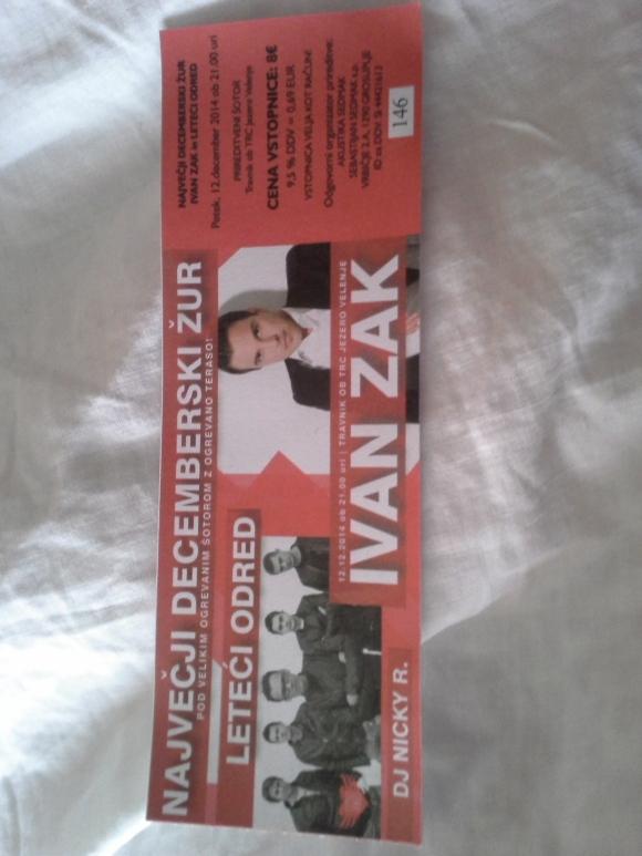 Karta za koncert Ivana Žaka